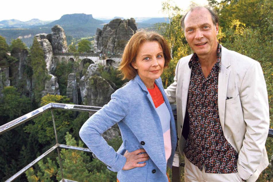 Die Schauspieler Carina Nicolette Wiese (49) und Martin Brambach (50) zeigten  sich beeindruckt von Fels-Kulisse.
