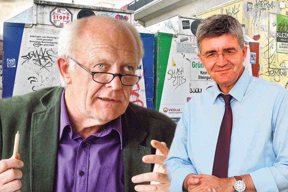 Wann darf in Dresden Glas und wann Papier eingeworfen werden? Michael Schmelich (63, Grüne, li.) und Christian Avenarius (58, SPD) gerieten auch darüber heftig in Streit.