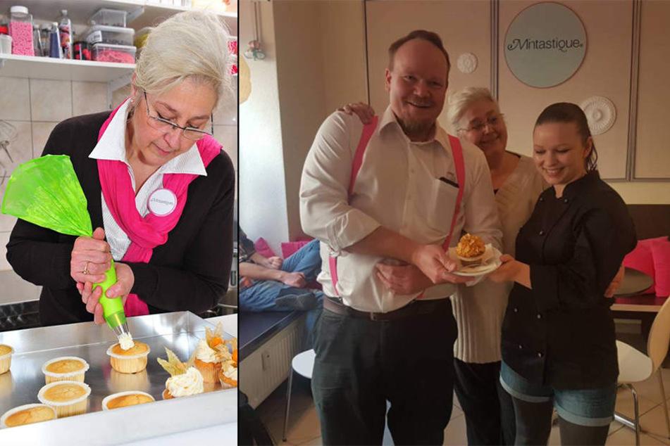 """Links: Diana Guglina beim liebevollen Cupcake-Verzieren. Rechts: Die symbolische Übergabe des """"Goldenen Cupcakes"""" an Juliane Haßheider, die neue Inhaberin des Mintastique."""