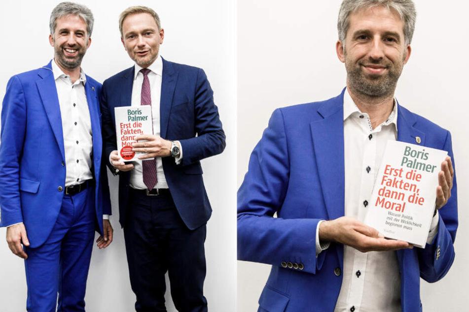 """Boris Palmer (Grüne, rechts im Bild) bei der Vorstellung seines neuen Buchs in Berlin. Im Verlagshaus des """"Tagesspiegel"""" diskutierte er mit FDP-Chef Christian Lindner (links im Bild) unter anderem über Wohnungspolitik. (Fotomontage)"""