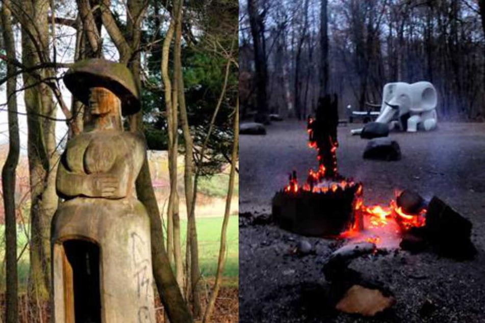Rosental-Frau in Flammen! Statue wird Opfer von Vandalismus