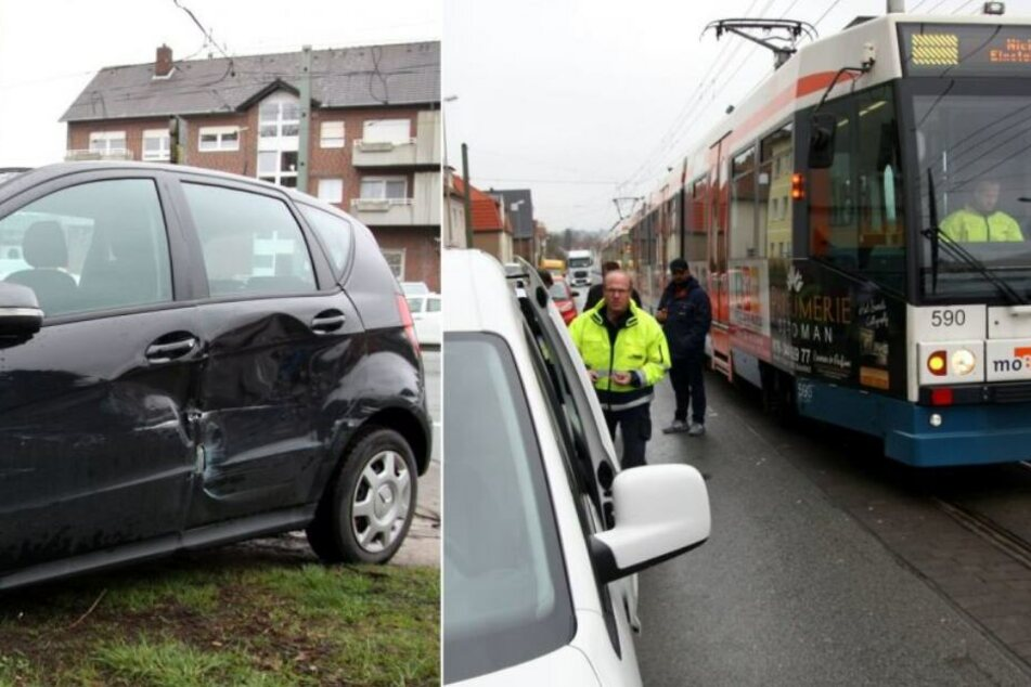 Auto kracht in Stadtbahn: Fahrgäste und kleines Kind verletzt