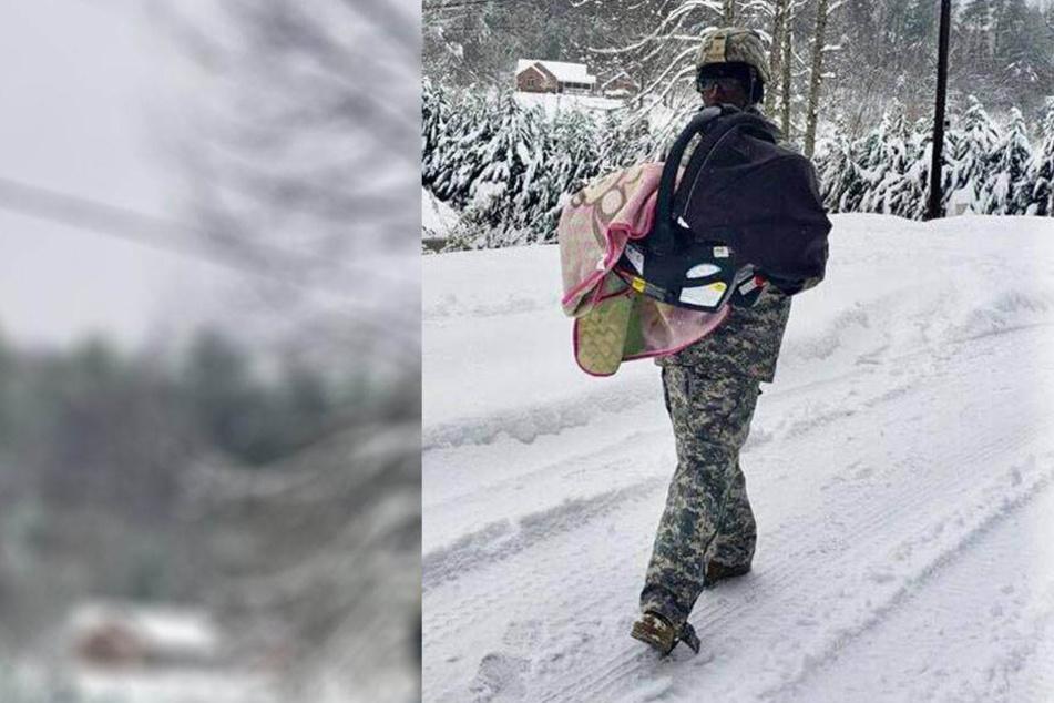Offizier wird zum Held, als er eine Mutter und ihr krankes Baby aus Schneesturm rettet