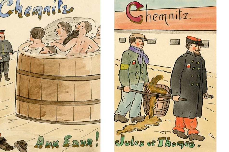 Diese handgemalten Postkarten von Kriegsgefangenen entstanden im Lager Chemnitz-Ebersdorf.