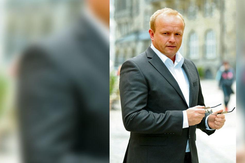 AfD-Stadtrat Falk Müller fordert mehr Werbung für die Altmetall-Container.