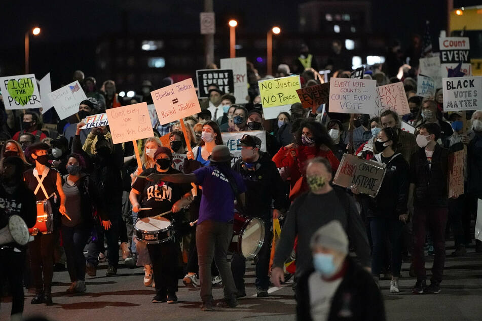 Protesters march in Portland, Oregon, to demand the counting of every vote in the presidential election.