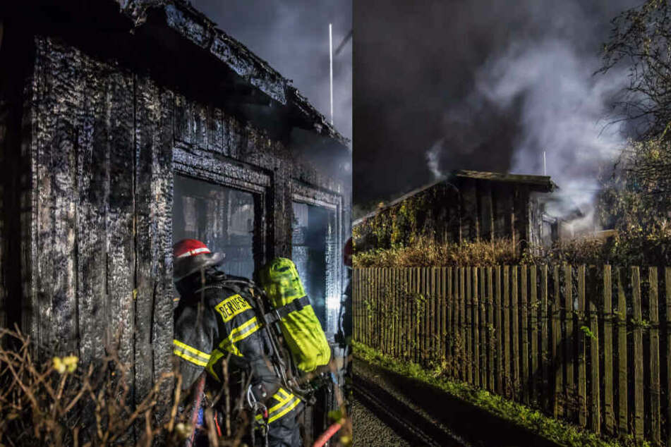 Feuer in Plauen: Gartenlaube brennt völlig aus