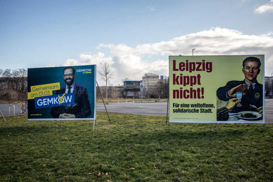 Einträchtig stehen die Plakate in Leipzig beieinander. Die Linke nimmt nun aber CDU-Mann Gemkow ins Visier.