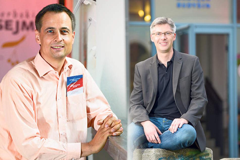 Serbski-Sejm-Initiator MartinSchneider (41, li.) undJanBudar (41), Chef der Stiftung sorbisches Volk.