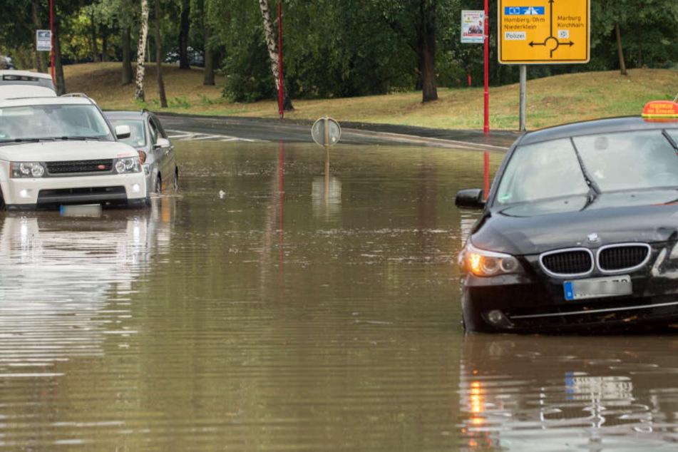 Auch in Stadtallendorf gingen große Wassermengen nieder.