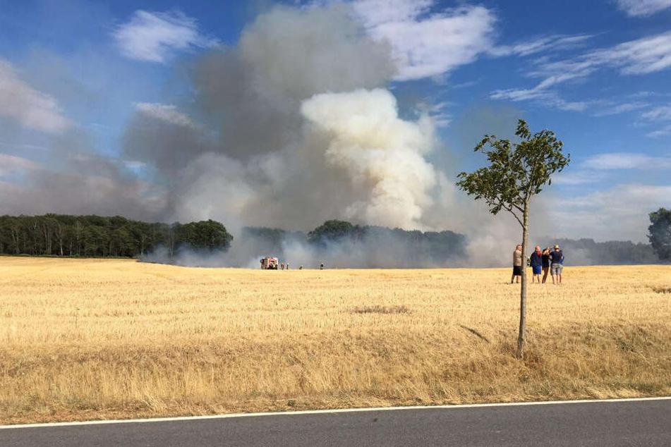 Riesige Rauchwolken zogen über die Felder.