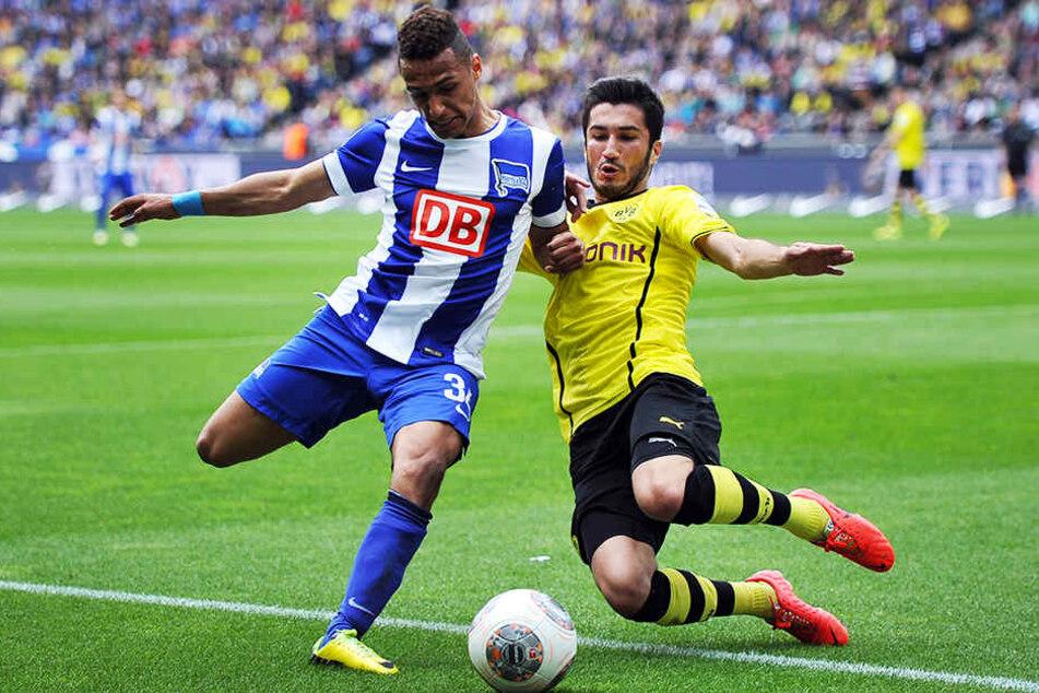 Wurde von Hertha BSC aufgrund seines Riesen-Talents früh in der 1. Bundesliga eingesetzt: Hany Mukhtar (l.), hier im Duell mit dem damaligen BVB-Kicker Nuri Sahin.