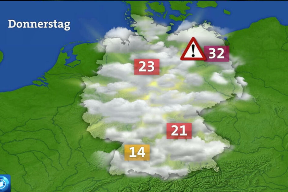 Kurz nach der Temperatur-Karte wurde dann auch, wie immer, die reguläre Wettervorschau gezeigt.