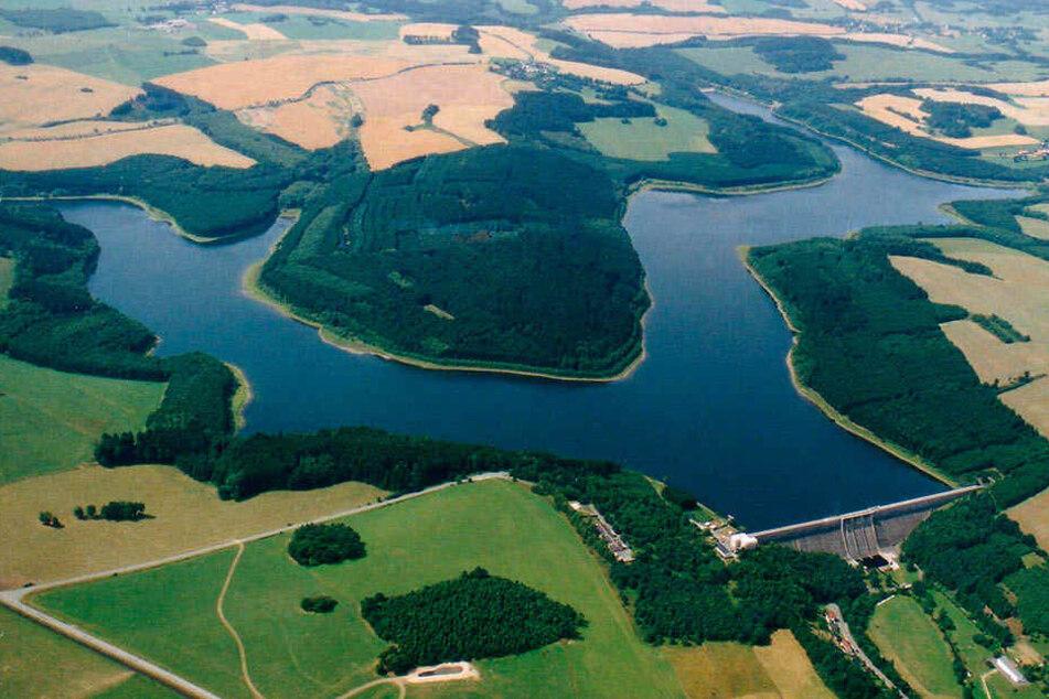 Die Talsperre Dröda (Vogtlandkreis) besitzt zwei Arme: Sie staut sowohl den Feilebach als auch dessen Nebenfluss Schafbach.