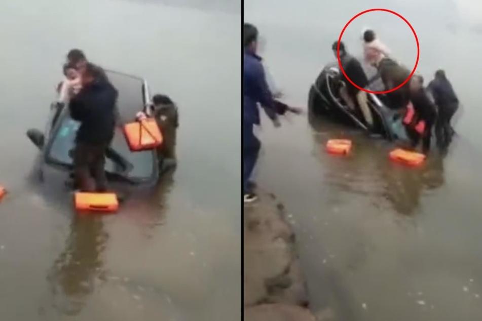 Als sein Auto unterging, schmiss ein Vater sein Baby gen Ufer.