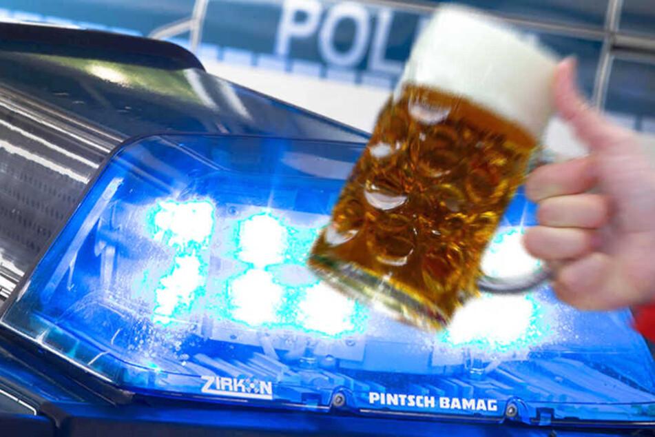 In einem Berliner Bierzelt schlug ein Mann mit einem Bierglas brutal zu. (Bildmontage)