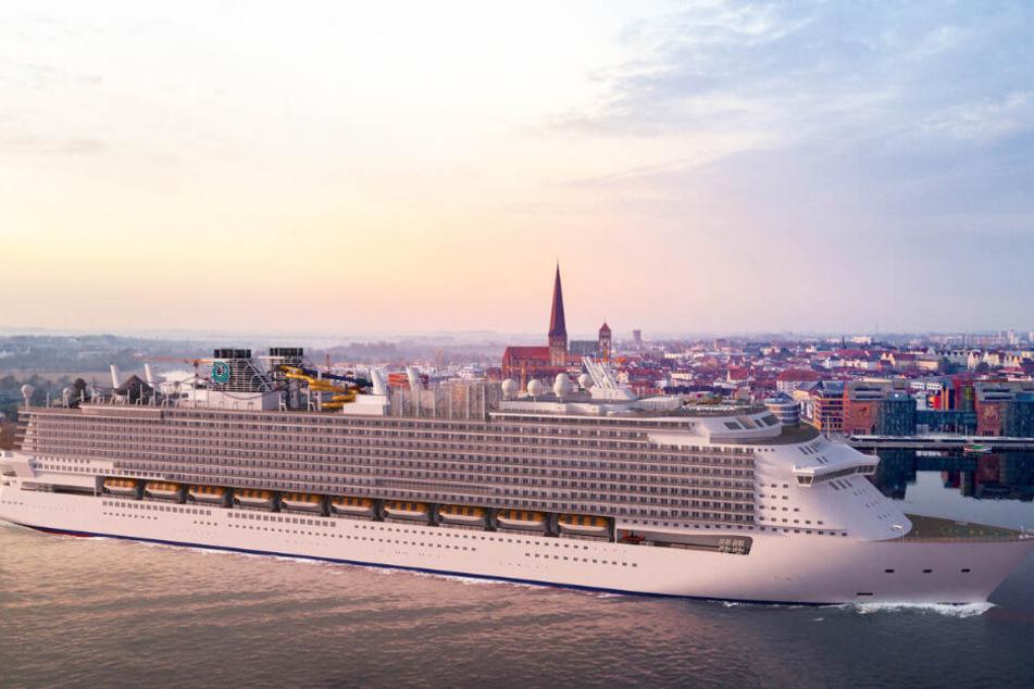 Wie auf dieser Visualisierung könnte es aussehen, wenn ein Kreuzfahrtschiff der Global Class vor Rostock fährt.