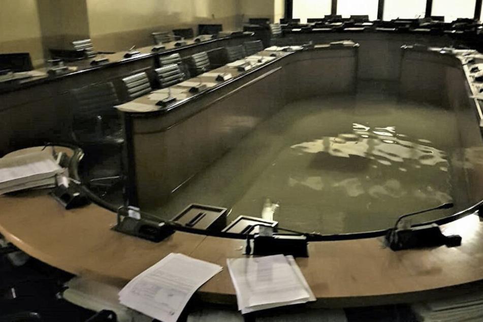 Das am Freitag herausgegebene Foto zeigt die Versammlungssaal des Regionalrats von Venedig im Palazzo Ferro Fini.