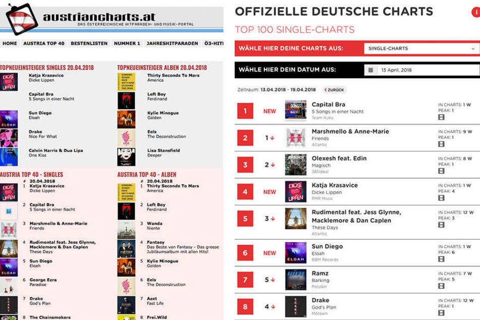 In Österreich auf Platz 1, in Deutschland auf Platz 4 - Das Youtube-Luder erobert die Single-Charts.
