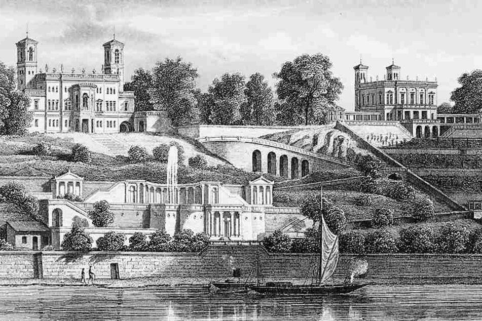Eine historische Aufnahme des Schlosses: Der Legende nach soll der Geheimgang  bis zur Elbe führen.