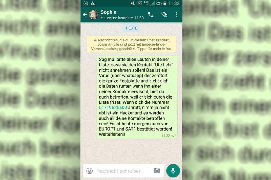 Diesen Kettenbrief bekommen derzeit viele WhatsApp-Nutzer. An dem vermeintlichen Virus ist allerdings nichts dran.