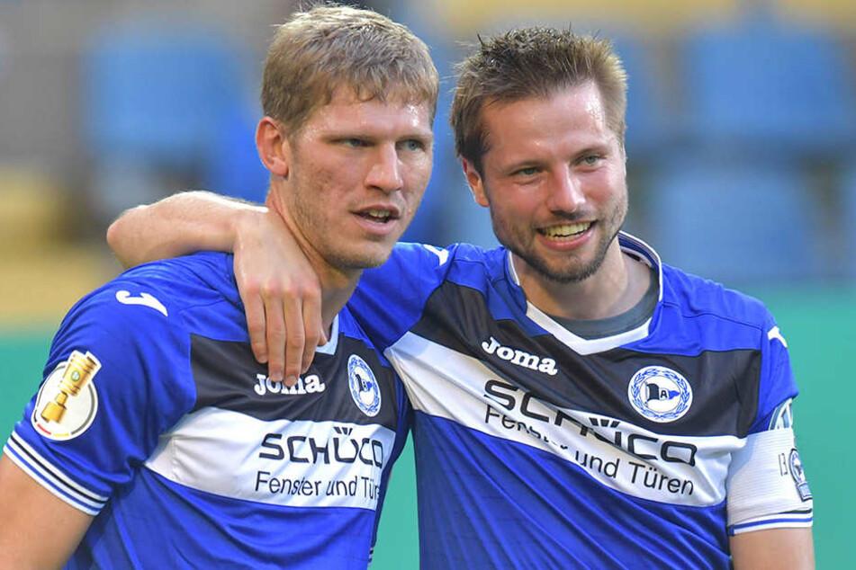 Kapitäne unter sich: Fabian Klos (29, li.) musste zu Beginn der Saison die Binde an Julian Börner (26) abgeben.