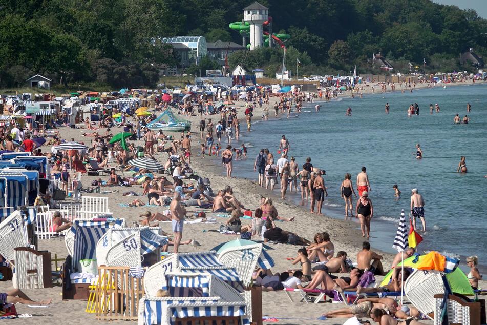 Zahlreiche Badegäste liegen im Sommer dieses Jahres bei sonnigem Wetter am Timmendorfer Ostseestrand.