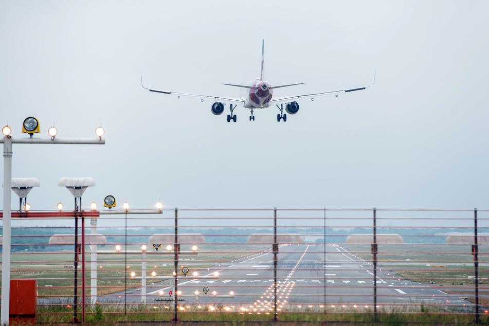 Ein Flugzeug landet am Helmut-Schmidt-Airport. (Archivbild)