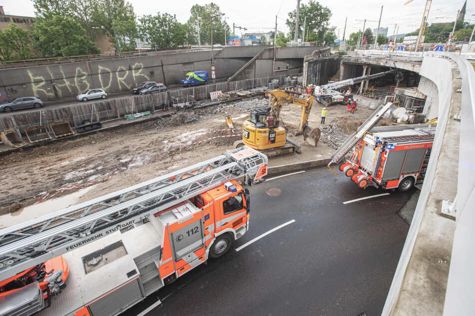 Stuttgart: Starkregen reißt Gerüst auf Tunnelbaustelle um: Arbeiter stirbt