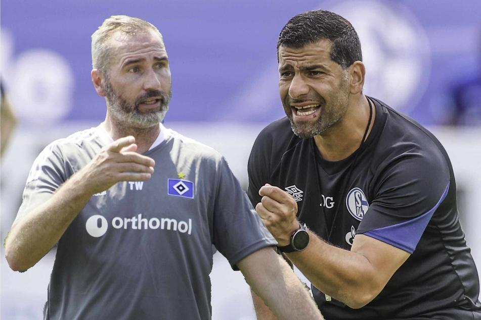 Tim Walter (45, l.) und Dimitrios Grammozis (43) freuen sich auf die Auftaktpartie zwischen Schalke 04 und dem HSV. (Bildmontage)