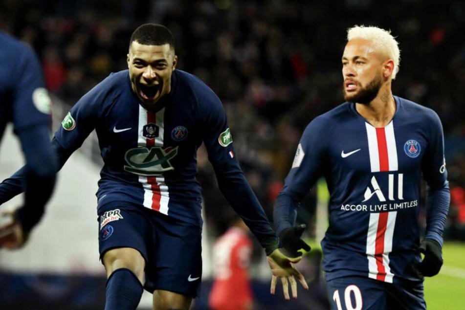 Kylian Mbappé (l.) und Neymar könnten das Spiel am Dienstag gegen Leipzig entscheiden.