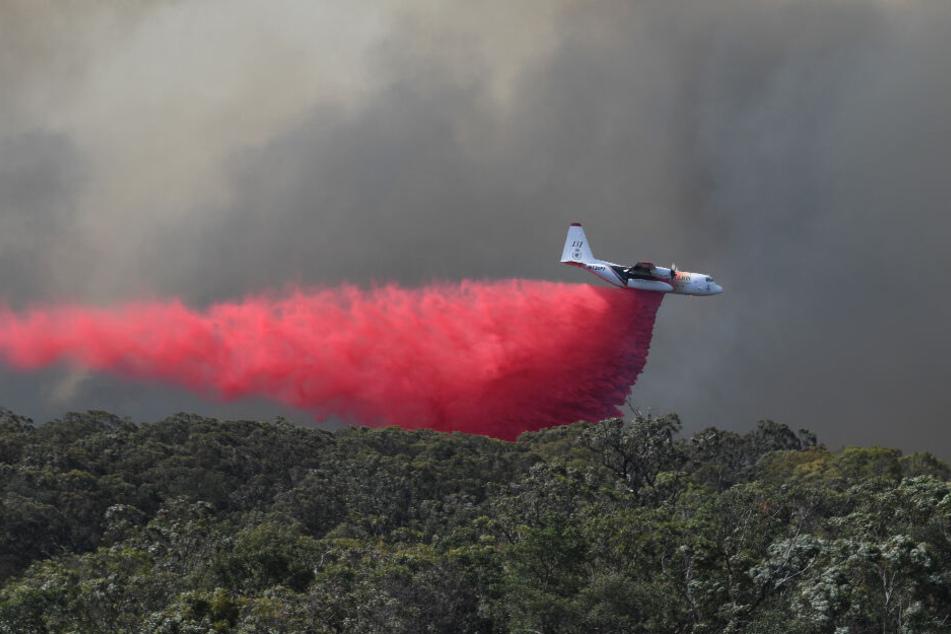 Ein Löschflugzeug lässt feuerhemmendes Mittel auf das Gospers Mountain Feuer in der Nähe von Colo Heights südwestlich von Sydney fallen. (Symbolbild).