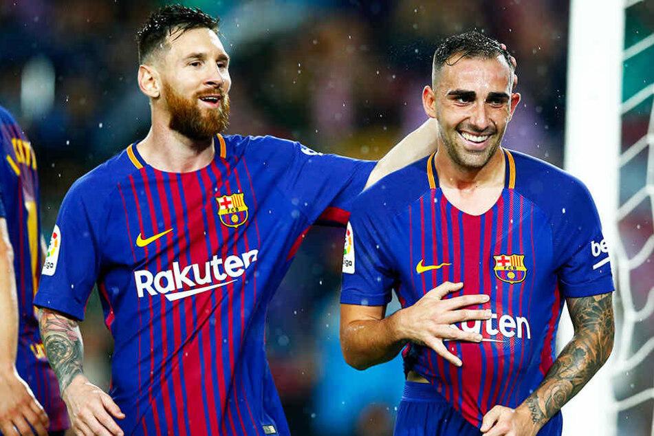 Jubelte schon oft an der Seite von Weltstar Lionel Messi: Paco Alcacer (r.).