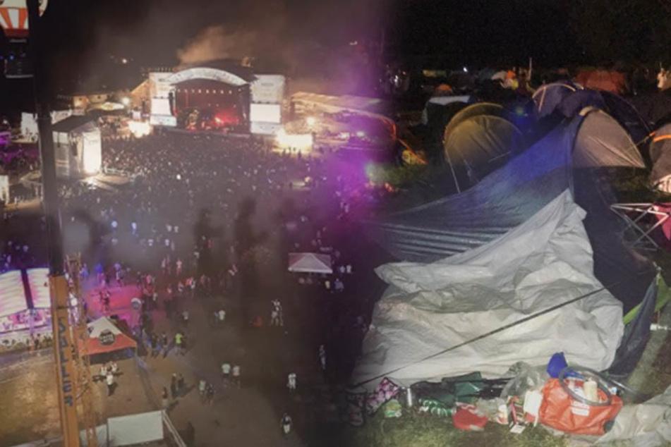 Unwetter verwüstet komplettes Festival! Besucher verletzt, Notunterkünfte eingerichtet