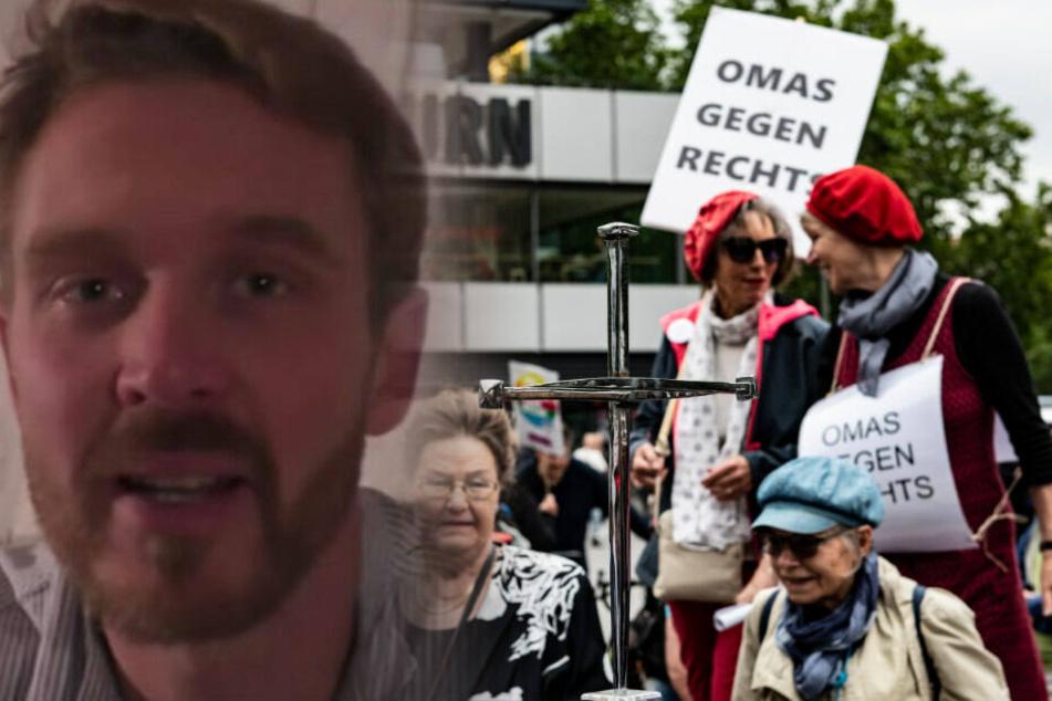 """Hier protestieren """"Omas gegen Rechts"""" gegen den """"Volkslehrer"""""""