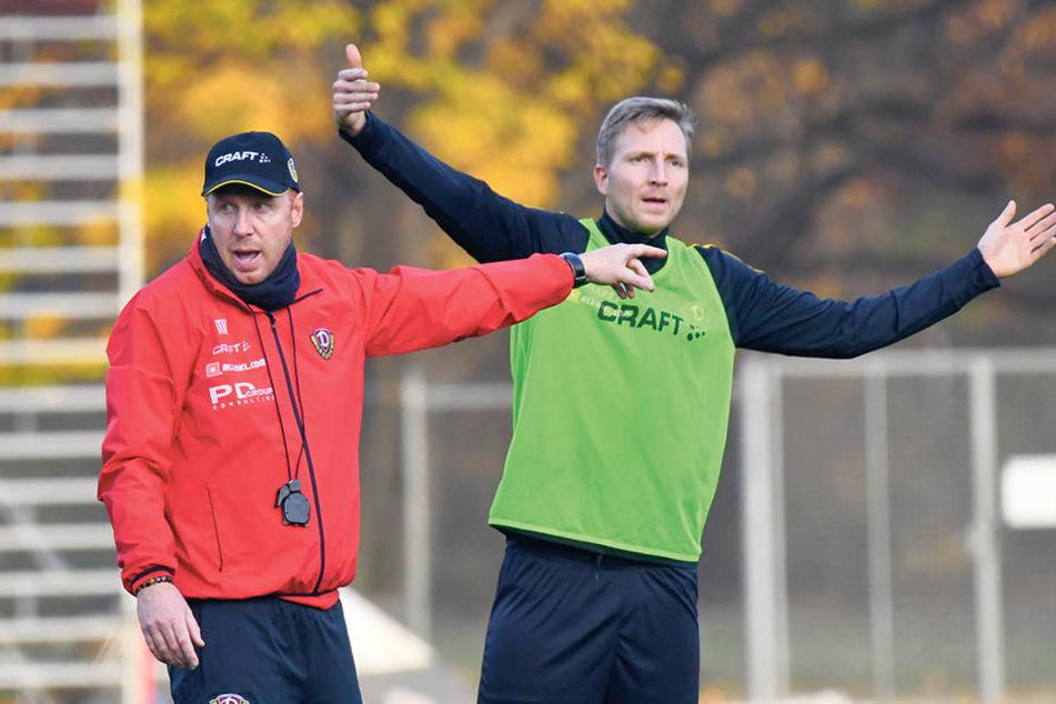 Auch Trainer Maik Walpurgis (l.) betont immer wieder die Wichtigkeit von Kapitän Marco Hartmann für die Dynamos.