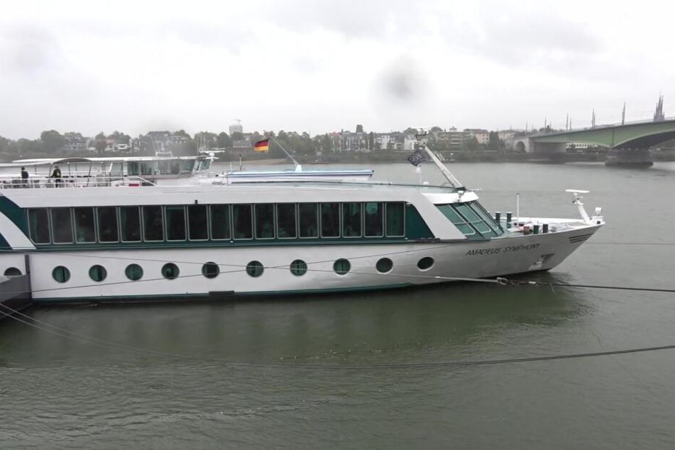 Die vermisste Frau (25) soll von diesem Schiff in den Rhein gestürzt sein.