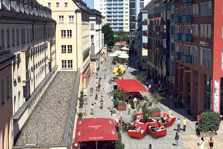 Die Innere Klosterstraße soll sich zwischen Theaterstraße und Johannis-Kirche  zur Kneipenmeile mausern. Sechs neue Lokale und Bänke zum Chillen sollen entstehen.