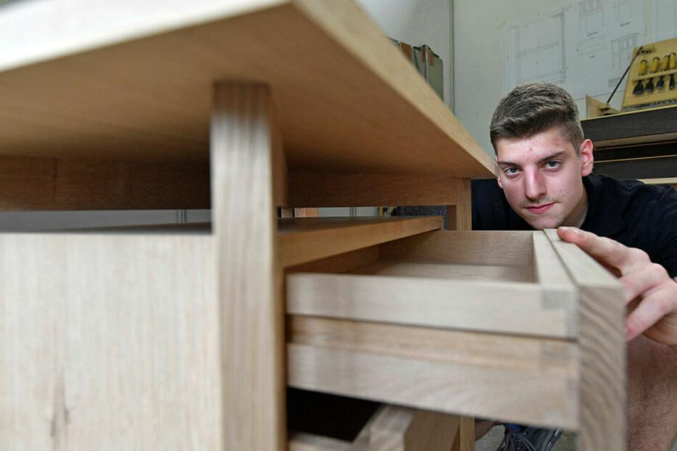 Passt genau: Auch diese Schublade baute der Leipziger WM-Teilnehmer während der Vorbereitung.