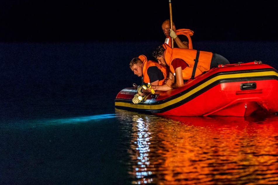 In der Nacht zum Dienstag suchten Polizei Feuerwehr und Wasserwacht nach einem jungen Mann in Pirna