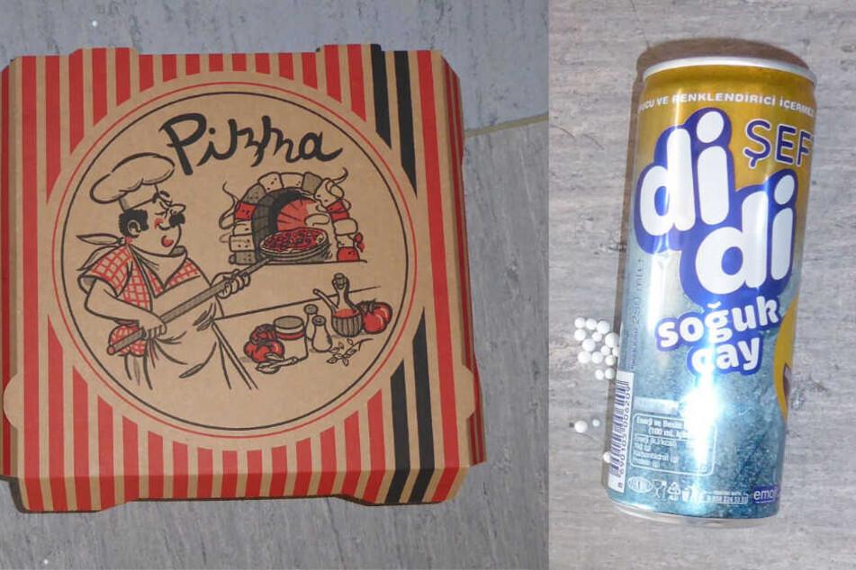 Die Polizei veröffentlichte Fotos des Pizzakartons und der Getränkedose. (Fotomontage)