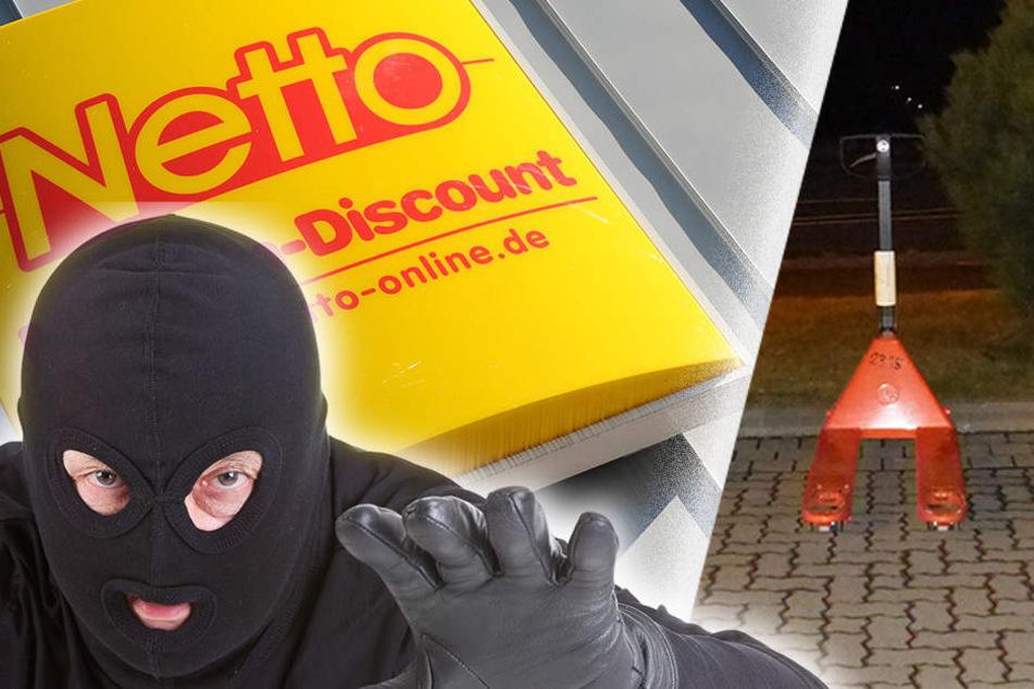 Mit einem Hubwagen des Supermarktes transportierten die Einbrecher den Tresor zu ihrem Fahrzeug.