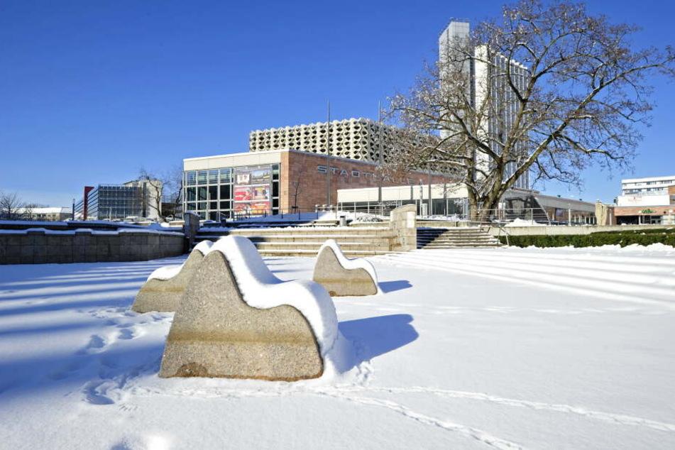 Vor einem Jahr war der Brunnen am Stadthallenpark voller Schnee.