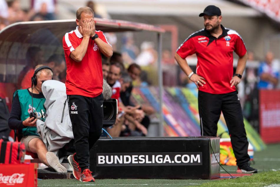 Haderte mehr als einmal mit dem Schiedsrichter: Kölns Trainer Markus Anfang (l.).
