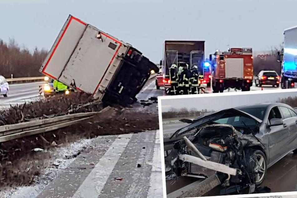 Mercedes-Fahrerin wird auf A9 von Böe erwischt und kracht in Lastwagen