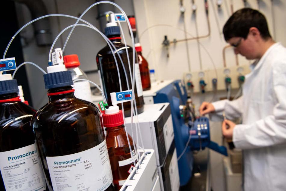 Ein Labormitarbeiter im Labor des Bayerischen Landeskriminalamtes (LKA) untersucht eine Probe mit einem Chromatographen.