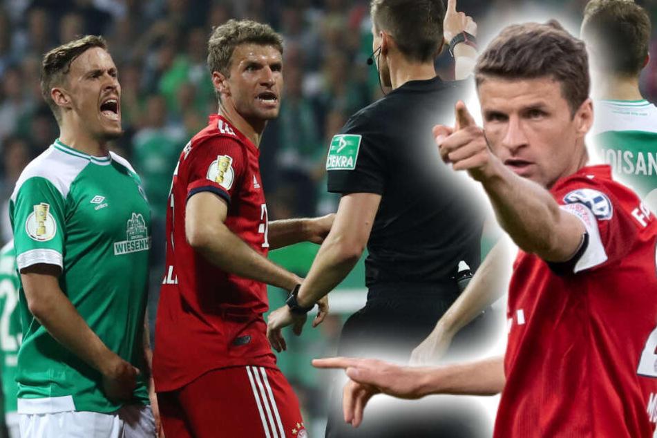 Thomas Müller war im Spiel gegen Werder Bremen mehrfach emotional geladen. (Bildmontage)
