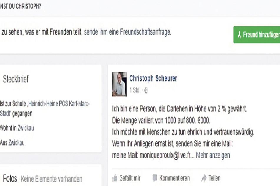 Das Profilbild zeigt Christoph Scheurer, doch hinter der Seite stecken Geschäftemacher, die mit dubiosen Krediten locken.