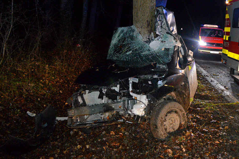 Der Mazda hat sich bei dem Unfall komplett um den Baum gewickelt.