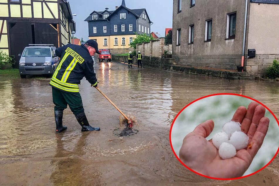 Heftige Gewitter mit Starkregen und Hagel: Straßen überflutet